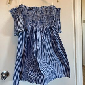 Fashion Nova Blue Striped Off Shoulder Dress